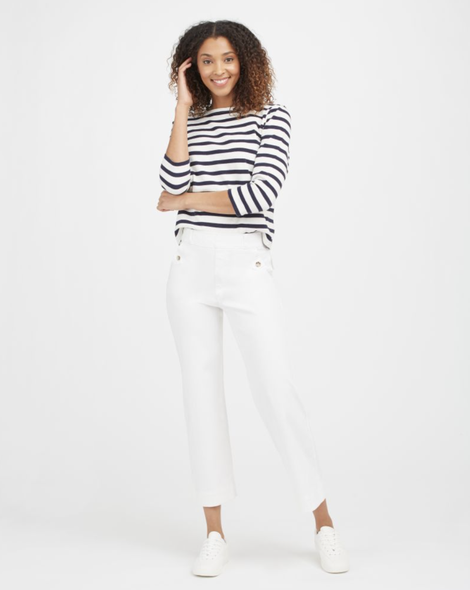 Stretch Twill Cropped Wide Leg Pant in Bright White (Photo via Spanx)