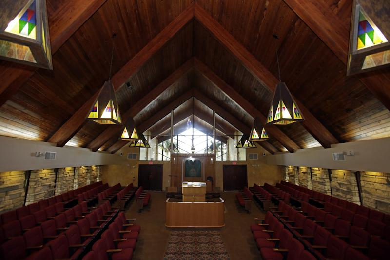 An interior view of of the Beit Rambam Congregation is shown, in a Monday, Nov. 25, 2013 photo, in Sunny Isles Beach, Fla. The case of Temple B'nai Zion v. City of Sunny Isles Beach and its mayor, Norman Edelcup, makes claims of religious discrimination, government harassment and interference with property rights. The temple's president, Rabbi Aaron Lankry, wants to modify the structure, formerly a Lutheran church, to more properly befit an Orthodox Jewish congregation. (AP Photo/Alan Diaz)