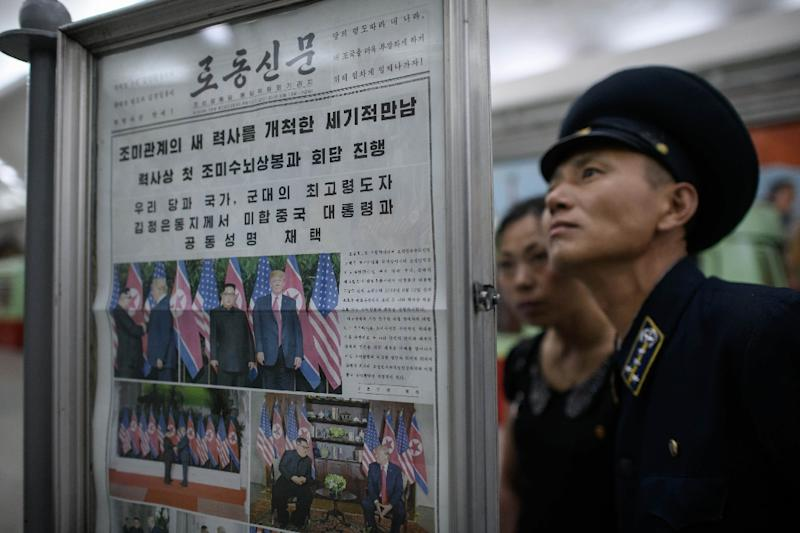 North Korea's reclusive regime has long craved international legitimacy, and celebrated the Singapore summit as a major victory (AFP Photo/Ed JONES)