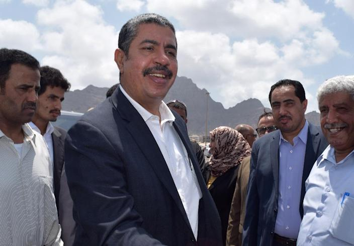 "Yemeni Prime Minister Khaled Bahah escaped unharmed from an attack on government headquarters at Al-Qasr Hotel, in Aden, but some of his ministers were ""lightly wounded"" (AFP Photo/Saleh Al-Obeidi)"