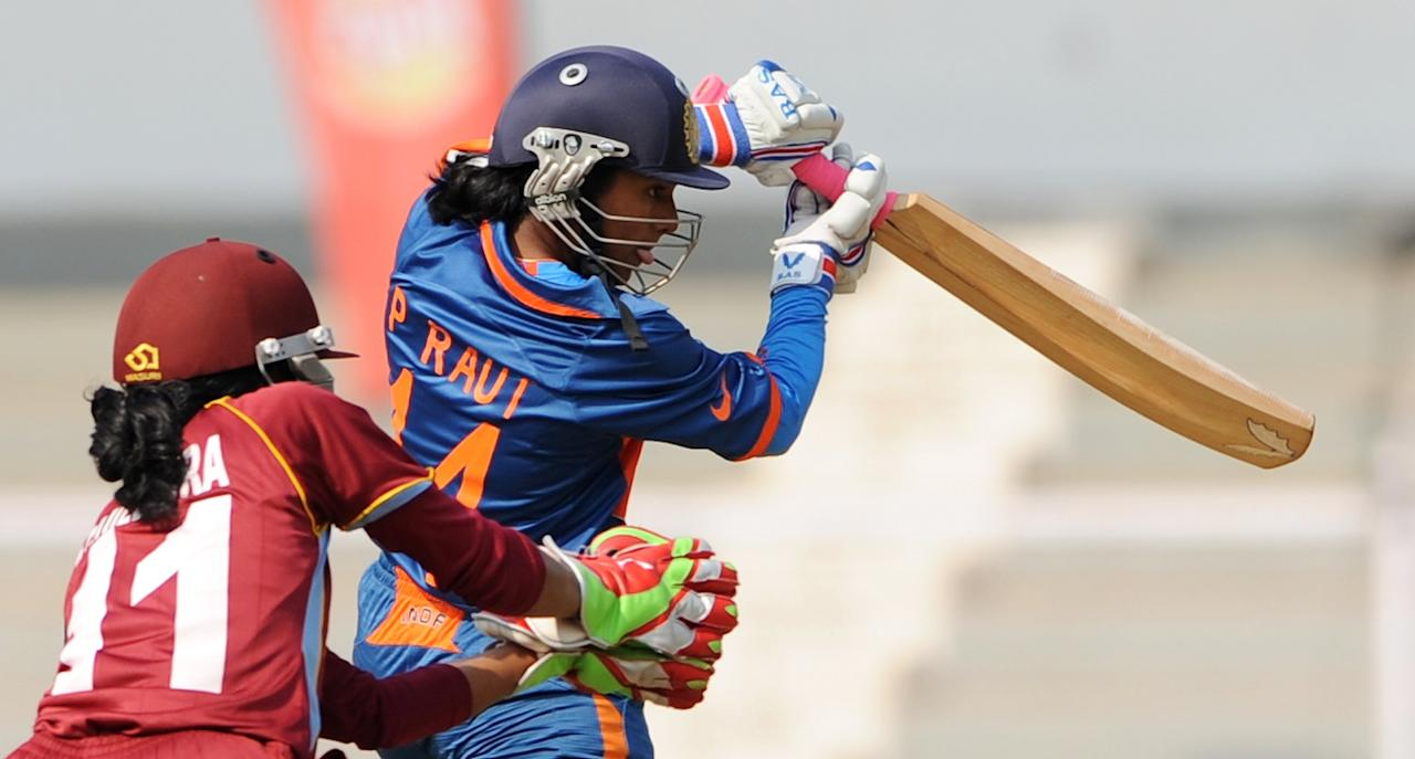 Indian cricketer Punam Raut plays a shot during the inugural match of the ICC Women's World Cup 2013 between India and West Indies at the Cricket Club of India's Brabourne stadium in Mumbai on January 31, 2013. Teams from Australia, England, New Zealand, Pakistan, South Africa, Sri Lanka, West Indies join hosts India for the global event which is being played from 31 January to 17 February.  The women's World Cup opened in Mumbai with the cricketers hoping to put aside memories of the unsavoury build-up and gain their due recognition in a country where the men's game reigns supreme. AFP PHOTO/ Indranil MUKHERJEE        (Photo credit should read INDRANIL MUKHERJEE/AFP/Getty Images)