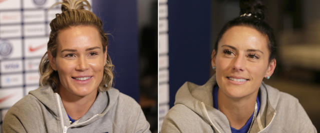 FILE - At left, in a May 24, 2019, file photo, U.S. women's national soccer team player Ashlyn Harris speaks to reporters in New York. At right, also in a May 24, 2019, file photo, teammate Ali Krieger speaks to reporters in New York. Many World Cup teammates have special bonds. The tie that binds U.S. defender Krieger and goalkeeper Harris is likely the strongest at the tournament. They got engaged last year and are planning a December wedding. (AP Photo/Seth Wenig, File)