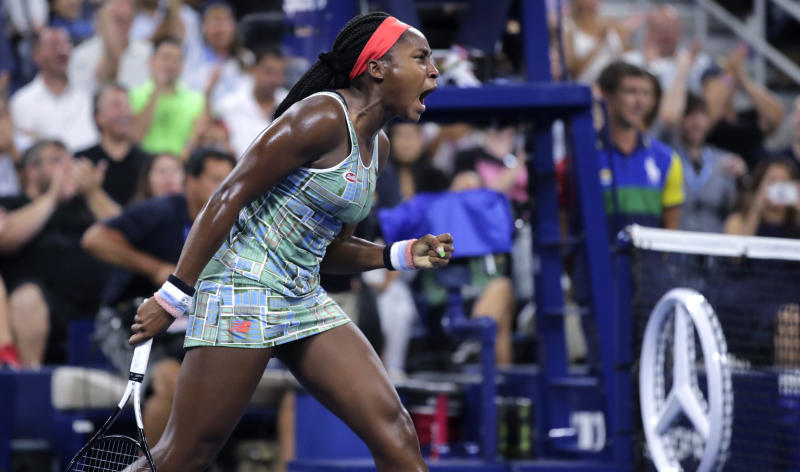 Coco Gauff reacts after winning a point against Timea Babos, of Hungary, during the second round of the U.S. Open tennis tournament in New York, Thursday, Aug. 29, 2019. (AP Photo/Charles Krupa)