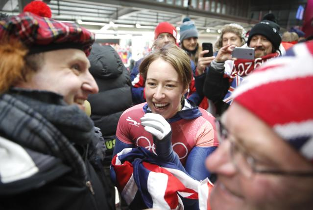 Pyeongchang 2018 Winter Olympics Skeleton - Pyeongchang 2018 Winter Olympics - Women's Finals - Olympic Sliding Centre - Pyeongchang, South Korea - February 17, 2018 - Lizzy Yarnold of Britain reacts. REUTERS/Arnd Wiegmann