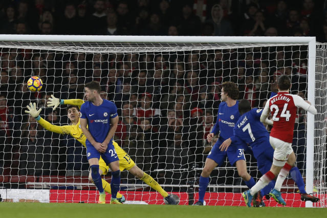 Hector Bellerin made up for an earlier mistake with a stoppage-time goal for Arsenal against Chelsea. (Getty)