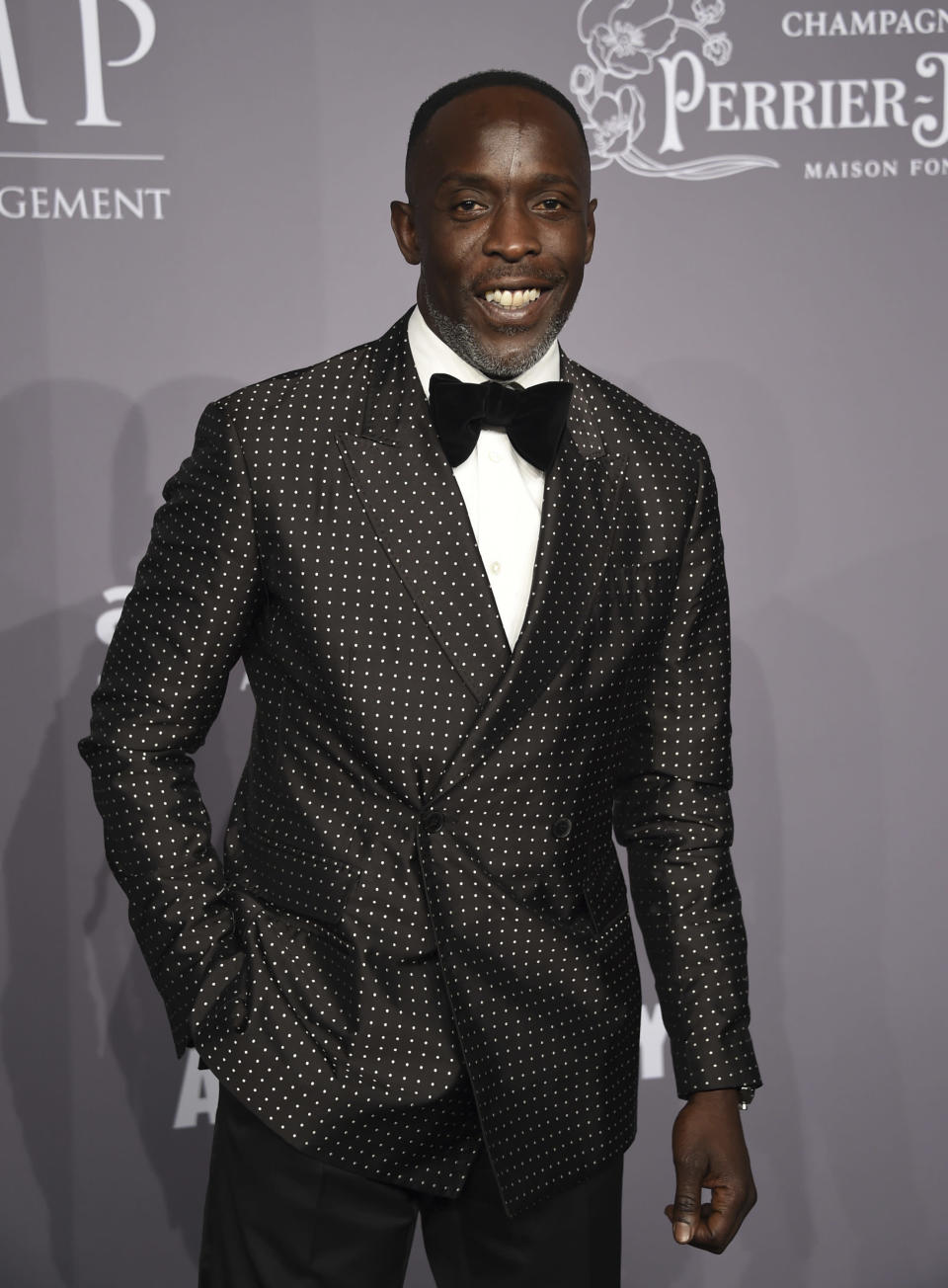 """FILE - In this Wednesday, Feb. 7, 2018, file photo, Michael K. Williams attends the Fashion Week amfAR Gala New York at Cipriani Wall Street in New York. Williams, who played the beloved character Omar Little on """"The Wire,"""" has died. New York City police say Williams was found dead Monday, Sept. 6, 2021, at his apartment in Brooklyn. He was 54. (Photo by Evan Agostini/Invision/AP, File)"""