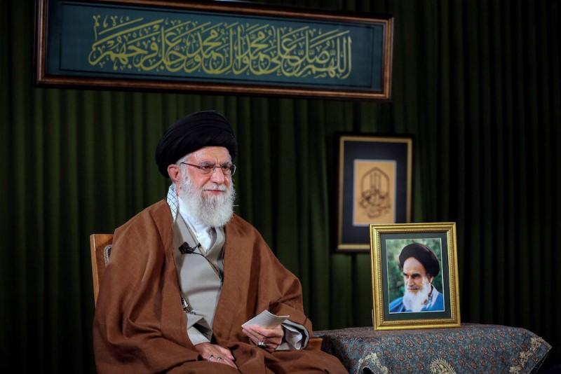Iran's Supreme Leader Ayatollah Ali Khamenei delivers a televised speech on the occasion of the Iranian New Year Nowruz, in Tehran