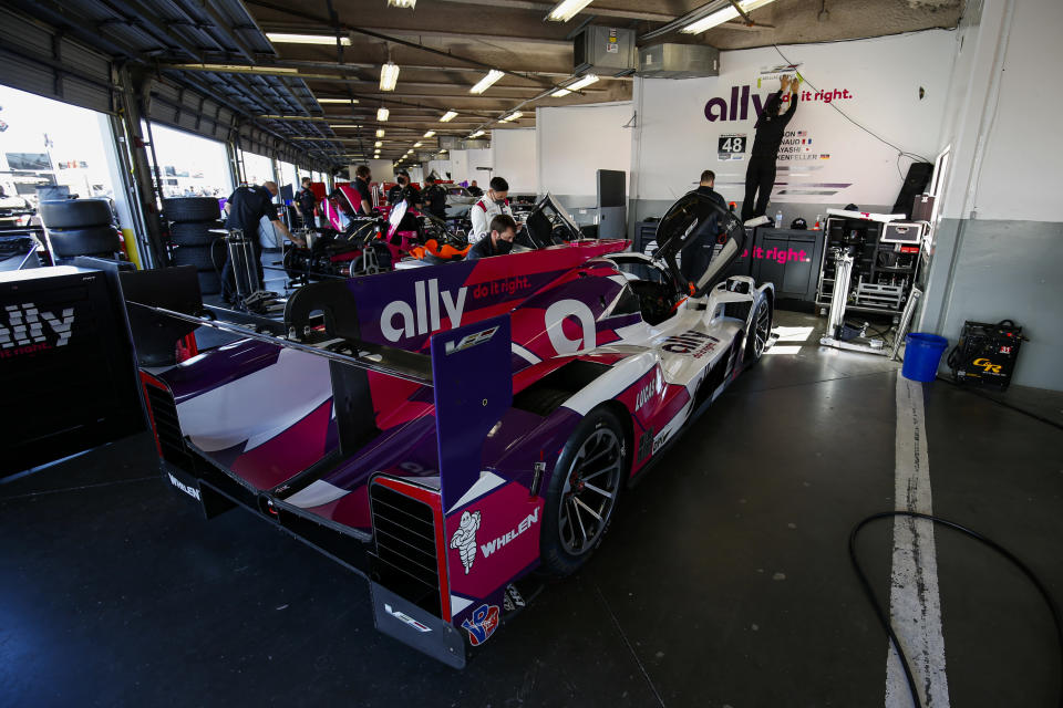 <strong><em>The No. 48 Ally Cadillac DPI-V.R, which will be shared by Jimmie Johnson, Kamui Kobayashi, Simon Pagenaud and Mike Rockenfeller, in the Daytona International Speedway garage Saturday (IMSA).</em></strong>