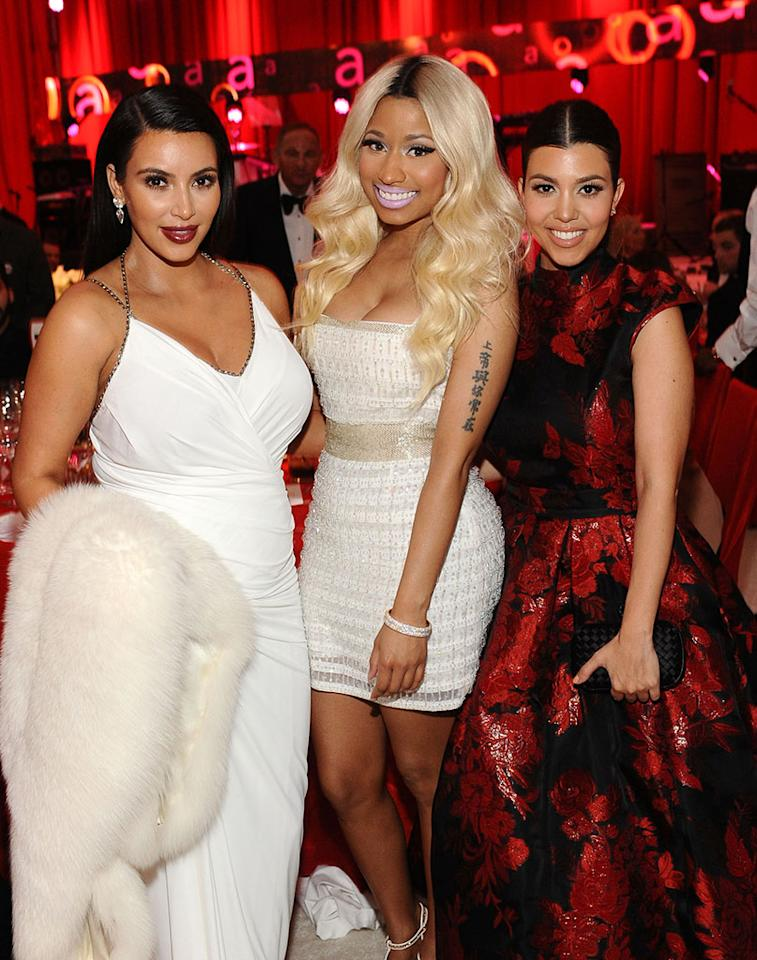 Kim Kardashian, Nicki Minaj and Kourtney Kardashian attend Chopard at 21st Annual Elton John AIDS Foundation Academy Awards Viewing Party at Pacific Design Center on February 24, 2013 in West Hollywood, California.