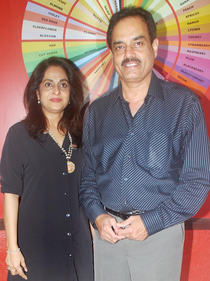 MUMBAI, INDIA - JUNE 15: Manali Vengsarkar and Dillip Vengsarkar at the launch of IVY GRANDE Wine Cafe & Bistro  in Bandra, Mumbai on June 15,2011. (Photo by Yogen Shah/India Today Group/Getty Images)