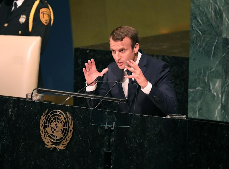 French President Emmanuel Macron warns in an address to the UN General Assembly that rejecting the nuclear deal with Iran would be a 'grave error'