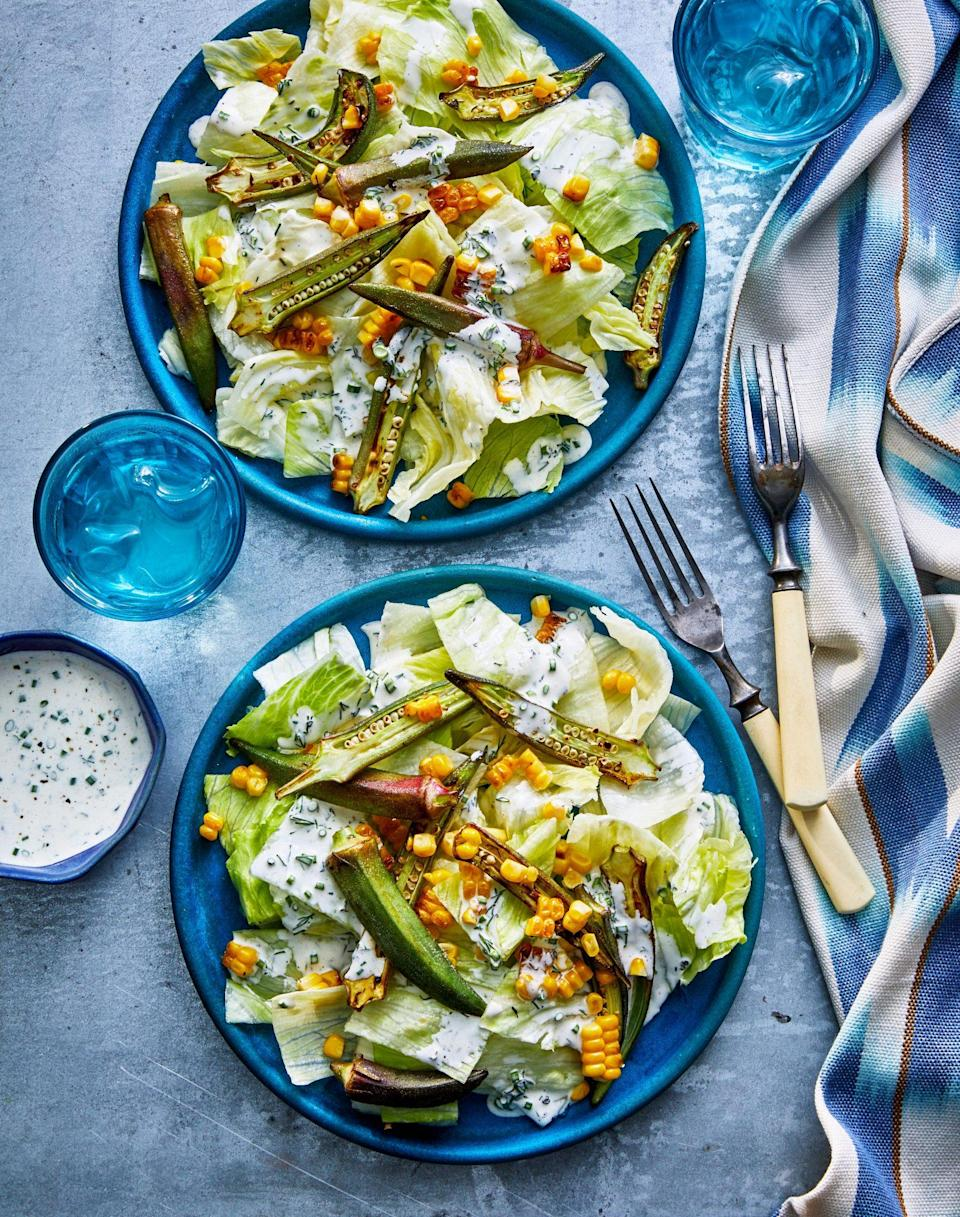 """<p><strong>Recipe:</strong> <a href=""""https://www.southernliving.com/recipes/okra-and-corn-salad-ranch-dressing"""" rel=""""nofollow noopener"""" target=""""_blank"""" data-ylk=""""slk:Crunchy Okra-and-Corn Salad with Ranch Dressing"""" class=""""link rapid-noclick-resp"""">Crunchy Okra-and-Corn Salad with Ranch Dressing</a></p> <p>This salad makes a refreshing side to pair with your favorite style of hot dog. In this summer dish, creamy ranch dressing meets smokey okra pods.</p>"""