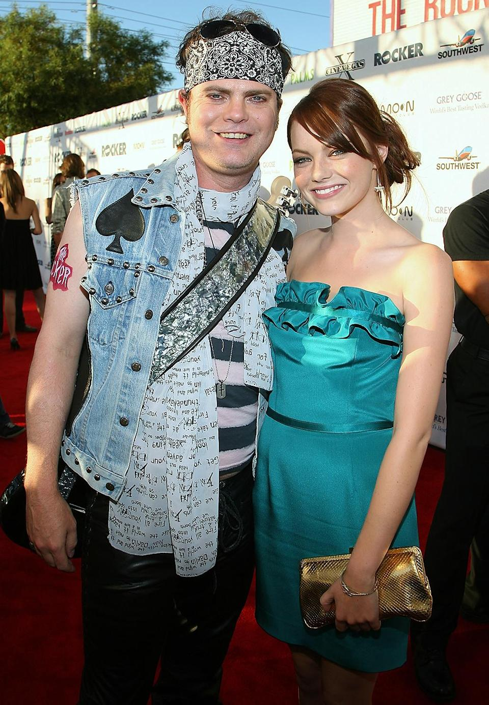 <p>Stone poses with co-star Rainn Wilson at the premiere of their comedy <em>The Rocker</em> on June 12, 2008, in Las Vegas. (Photo: Ethan Miller/Getty Images) </p>