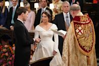 <p>She topped her gown with an emerald-encrusted tiara that belongs to her grandmother, Queen Elizabeth. Photo: Getty </p>