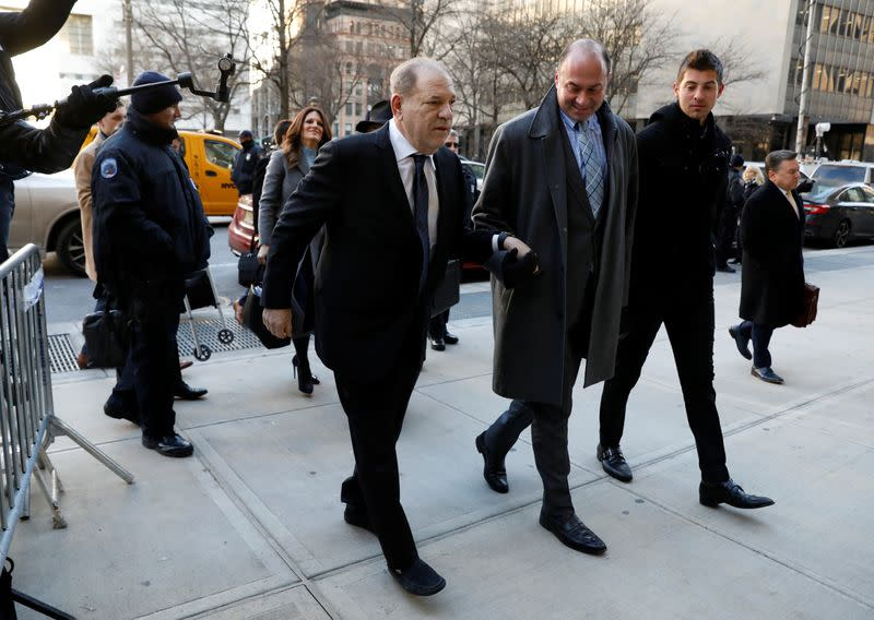 Film producer Harvey Weinstein arrives at New York Criminal Court for his sexual assault trial in the Manhattan borough of New York