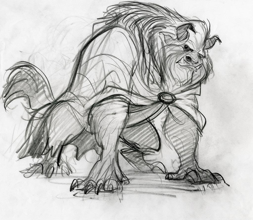 "Supervising animator Glen Keane, who was charged with designing and drawing the Beast, spent a lot of time at the zoo figuring out how to best bring the character to life. Ultimately, the Beast became a hodgepodge of physical characteristics from many animals, including the mane of a lion, the horns and head of a buffalo, the eyebrows of a gorilla, the tusks of a wild boar, the upper body of a bear, and the legs and tail of a wolf. Oh, my! There's also one physical attribute you don't see: the posterior of a mandrill. According to <a href=""http://screenrant.com/beauty-beast-glen-keane-interview-mikee-82407/"">Keane</a>, ""Beast actually has a rainbow bum, but nobody knows that but Belle.""   To further add to the Beast's savage ways, Robby Benson's voice was enhanced by the growls of actual lions and panthers. Yet in order for Belle to fall for the Beast, his human side had to be readily apparent. Because of this, animators made sure to keep the Beast's eyes deep blue and full of soul."