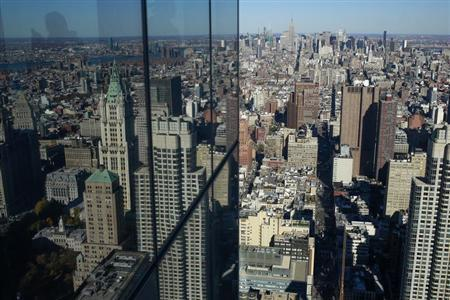 The Manhattan skyline is seen from the 68th floor of the 4 World Trade Center tower in New York