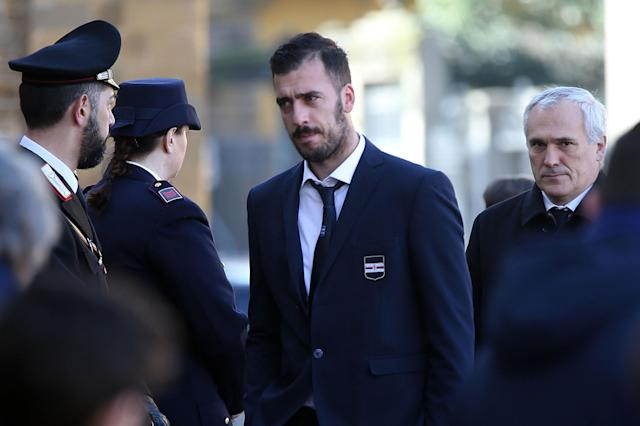<p>Emiliano Viviano of US Sampdoria ahead of a funeral service for Davide Astori on March 8, 2018 in Florence, Italy. The Fiorentina captain and Italy international Davide Astori died suddenly in his sleep aged 31 on March 4th, 2018. (Photo by Gabriele Maltinti/Getty Images) </p>