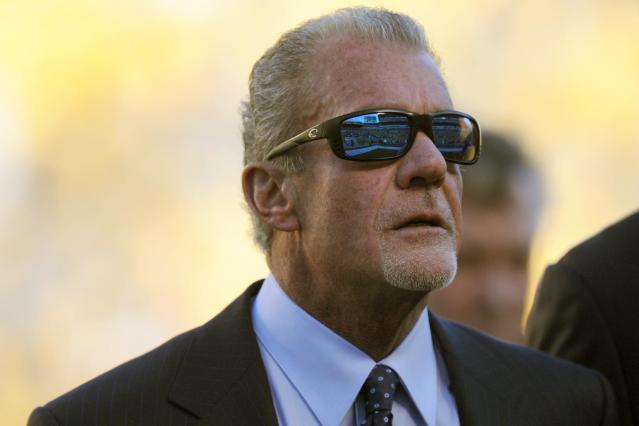 Indianapolis Colts owner Jim Irsay stands on the sideline before an NFL football game against the Pittsburgh Steelers, Sunday, Oct. 26, 2014, in Pittsburgh. (AP Photo/Don Wright)