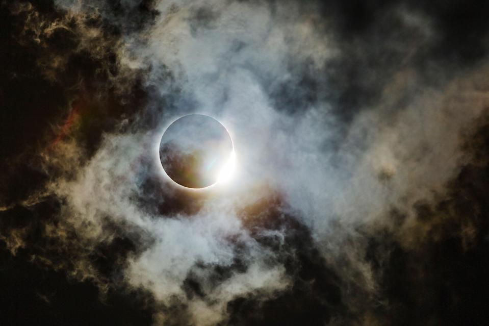 <p>The American Eclipse of 2017 seen from the part of the path of totality that went through northern Georgia. This is the diamond ring lighting up some very thin cloud structures, looking almost like space clouds (i.e. a nebula). It was named as runner up in the Astronomy category. (PA) </p>