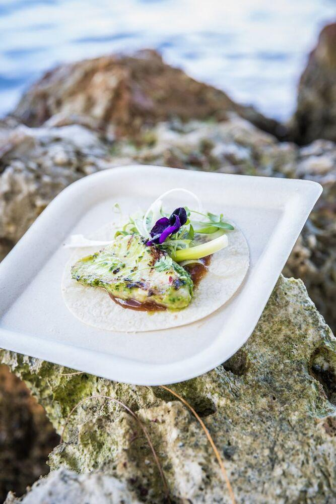 Emeril Lagasse's Moo Shu Cobia at the Cayman Cookout | Rebecca Davidson Photography