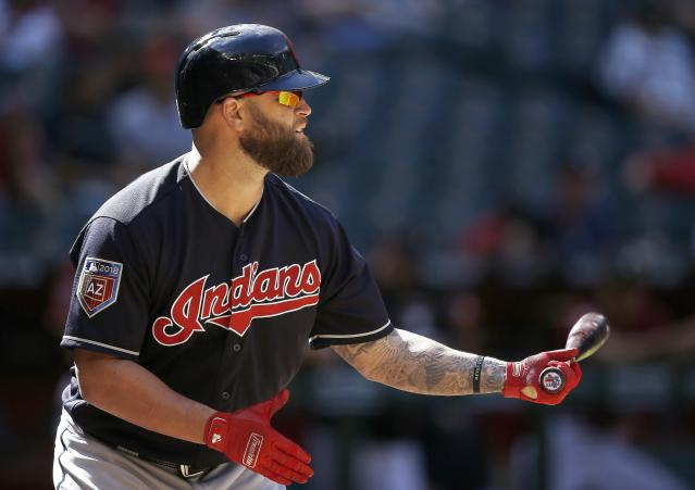 Cleveland Indians' Mike Napoli steps in to bat during the eighth inning of the team's spring training baseball game against the Arizona Diamondbacks on Tuesday, March 27, 2018, in Phoenix. The game ended in a 3-3 tie. (AP Photo/Ross D. Franklin)