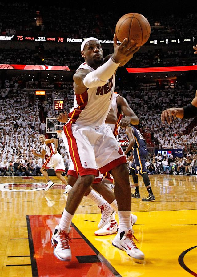 MIAMI, FL - MAY 15: LeBron James #6 of the Miami Heat rebounds the ball during Game Two of the Eastern Conference Semifinals in the 2012 NBA Playoffs against the Indiana Pacers at AmericanAirlines Arena on May 15, 2012 in Miami, Florida. NOTE TO USER: User expressly acknowledges and agrees that, by downloading and/or using this Photograph, User is consenting to the terms and conditions of the Getty Images License Agreement. (Photo by Mike Ehrmann/Getty Images)