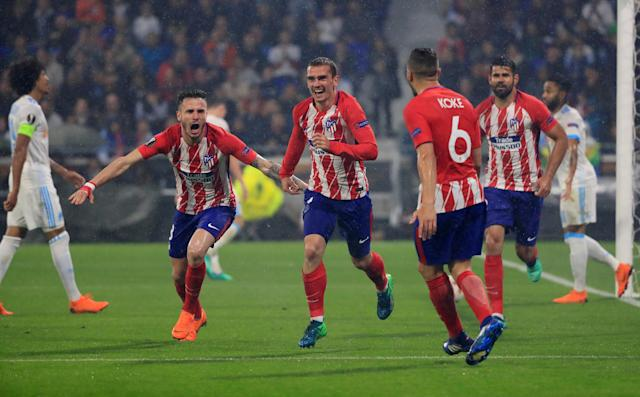 Soccer Football - Europa League Final - Olympique de Marseille vs Atletico Madrid - Groupama Stadium, Lyon, France - May 16, 2018 Atletico Madrid's Antoine Griezmann celebrates scoring their second goal with team mates REUTERS/Gonzalo Fuentes