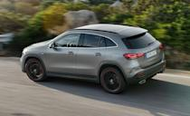 """<p>At the start of Mercedes-Benz's SUV alphabet is a slightly smaller, slightly slower, GLA-class. Like the GLB, the <a href=""""https://www.caranddriver.com/mercedes-benz/gla-class"""" rel=""""nofollow noopener"""" target=""""_blank"""" data-ylk=""""slk:GLA-class"""" class=""""link rapid-noclick-resp"""">GLA-class</a> shares its platform with the more affordable <a href=""""https://www.caranddriver.com/mercedes-benz/a-class"""" rel=""""nofollow noopener"""" target=""""_blank"""" data-ylk=""""slk:A-class sedan"""" class=""""link rapid-noclick-resp"""">A-class sedan</a>. It's powered by a 221-hp turbocharged inline-four with an eight-speed dual-clutch automatic transmission. Its good looks and lower roof sacrifice an inch of second-row headroom versus the GLB, though it is significantly more spacious than the previous-generation GLA. Two 7.0-inch displays come standard, one for the driver's display and one for infotainment. Dual 10.3-inch screens are optional. </p><ul><li>Base price: $37,280</li><li>EPA Fuel Economy combined/city/highway: 28/25/34 mpg (FWD)</li><li>Rear cargo space: 15 cubic feet</li></ul><p><a class=""""link rapid-noclick-resp"""" href=""""https://www.caranddriver.com/mercedes-benz/gla-class/specs"""" rel=""""nofollow noopener"""" target=""""_blank"""" data-ylk=""""slk:MORE GLA-CLASS SPECS"""">MORE GLA-CLASS SPECS</a></p>"""