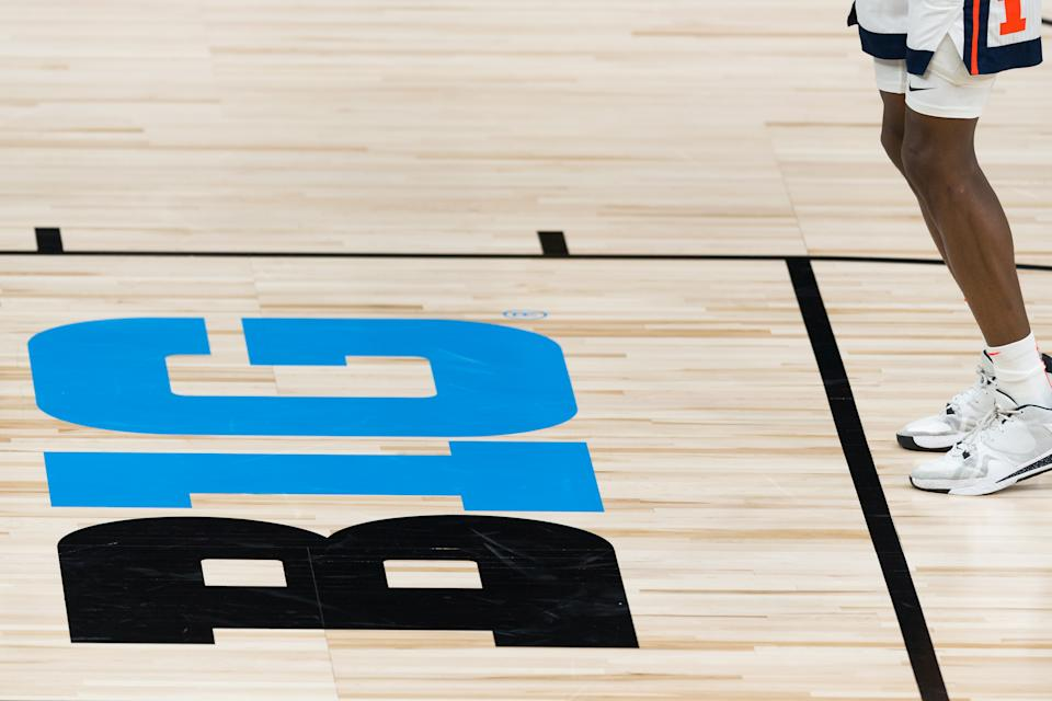 The Big Ten conference logo is shown on the floor during a college basketball game between Rutgers and Illinois on March 12. (Zach Bolinger/Icon Sportswire via Getty Images)