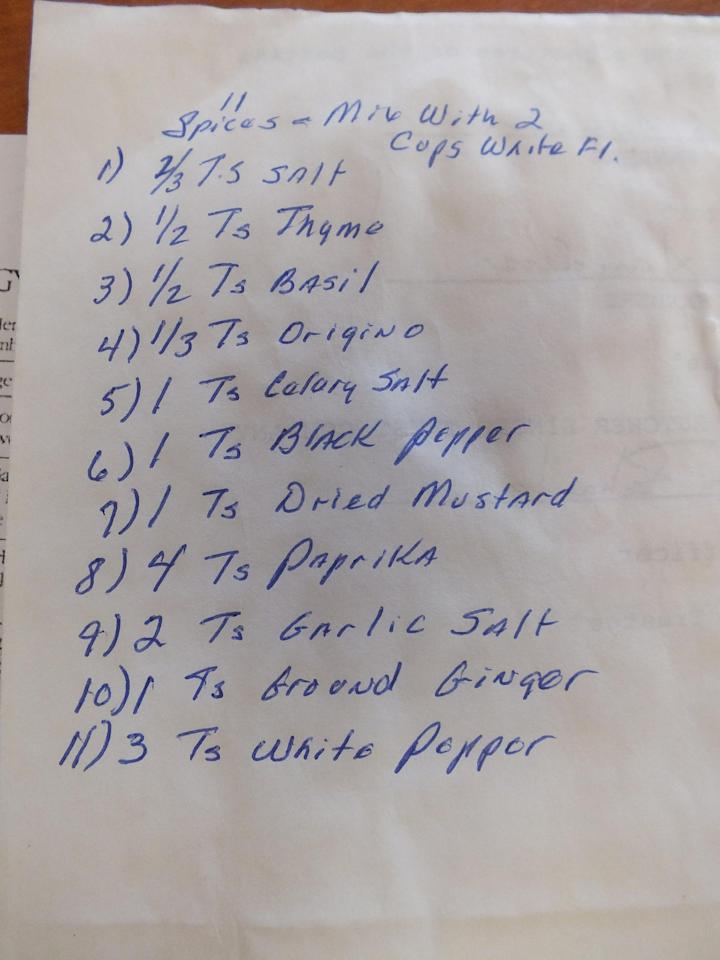 In this August 2016, photo, a handwritten list of 11 herbs and spices, jotted down on the back of the will for Claudia Sanders, the late wife of Colonel Harland Sanders who created his world-famous Kentucky Fried Chicken, is displayed in Corbin, Ky. KFC says the recipe published in the Chicago Tribune is not authentic. But that hasn't stopped rampant online speculation that one of the most legendary and closely guarded secrets in the history of fast food has been exposed. (Jay Jones/Chicago Tribune via AP)