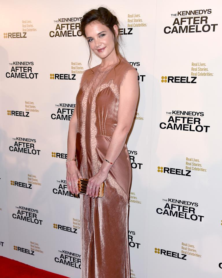 Star Katie Holmes attends the Beverly Hills premiere of The Kennedys After Camelot on Wednesday.