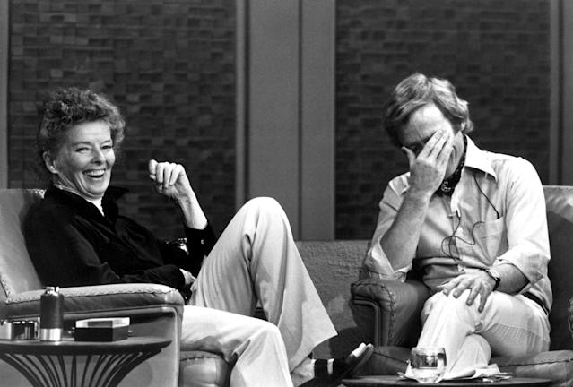 "Katharine Hepburn on <em>The Dick Cavett Show</em> in 1973. When the actress first met the talk-show host, she immediately asked him about ""the man who died."" (Photo: Everett Collection)"
