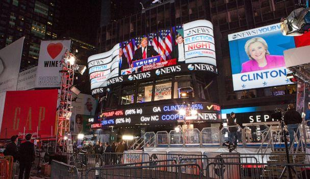 PHOTO: Screens in Times Square show election results declaring Donald Trump to be President-elect on Nov. 9 2016, in New York. (picture alliance via Getty Image)