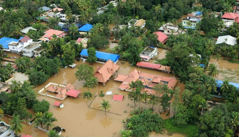 A flooded area in the north part of Kochi, in the Indian state of Kerala