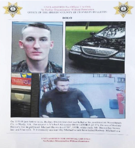 In this undated image released by the Franklin County (Va.) Sheriff's Office, U. S. Marine Michael Alexander Brown is shown. Roanoke Police Chief Tim Jones has closed all the city schools in Roanoke, Va. Thursday, Nov. 14, 2019, and warned people to lock their doors after spotting a vehicle linked to Brown, a Marine deserter who is wanted for questioning in a murder case. (Franklin County (Va.) Sheriff's Office via AP)