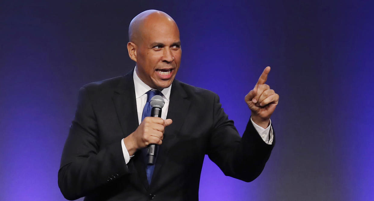 Sen. Cory Booker speaks during the Iowa Democratic Party's annual Fall Gala on Saturday in Des Moines, Iowa. (Photo: Charlie Neibergall/AP)