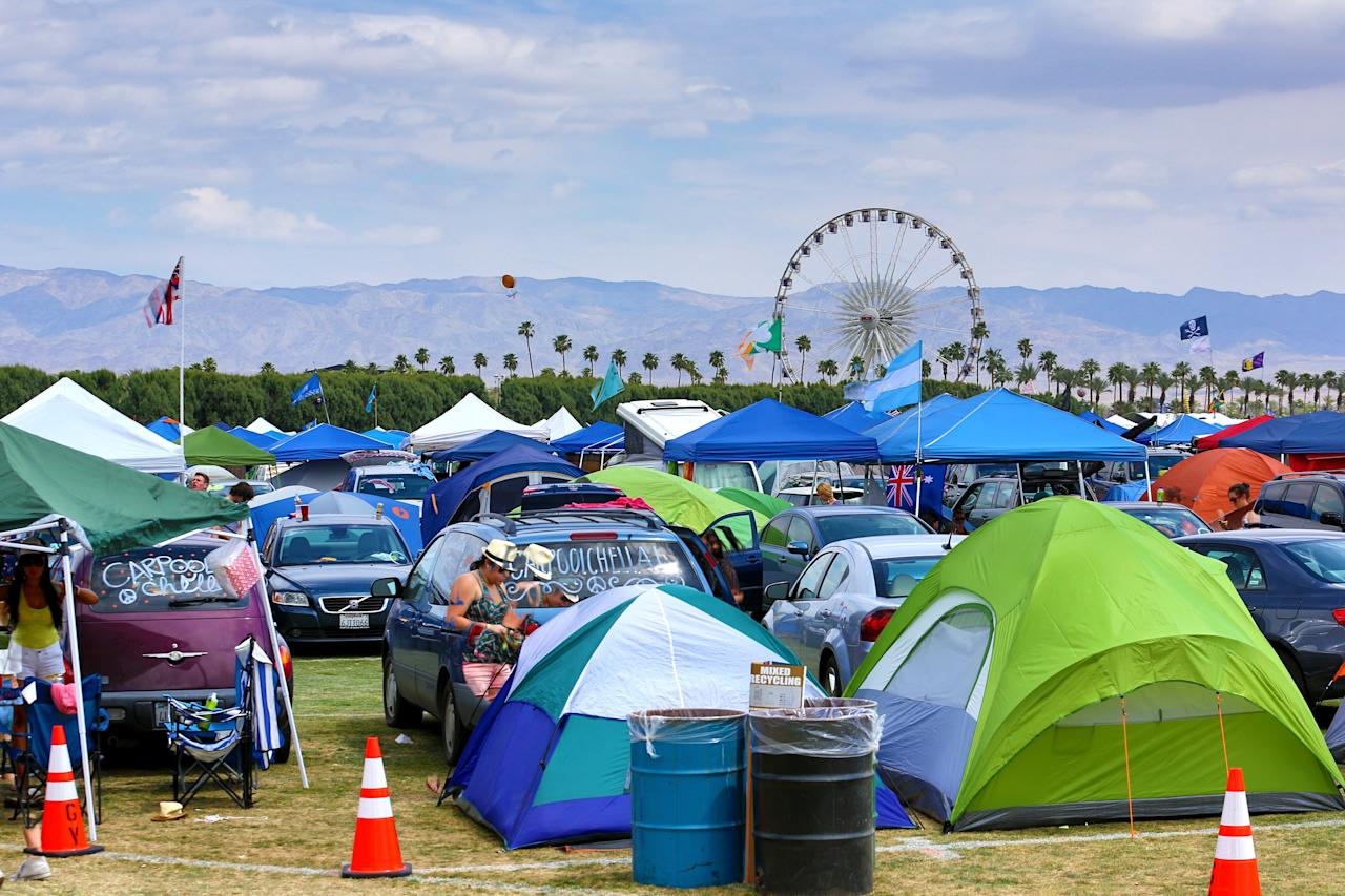 INDIO, CA - APRIL 13:  (EDITORS NOTE: Image was created using High Dynamic Range Imaging) Tents and the ferris wheel are seen at the 2012 Coachella Valley Music & Arts Festival held at The Empire Polo Field on April 13, 2012 in Indio, California.  (Photo by Christopher Polk/Getty Images for Coachella)
