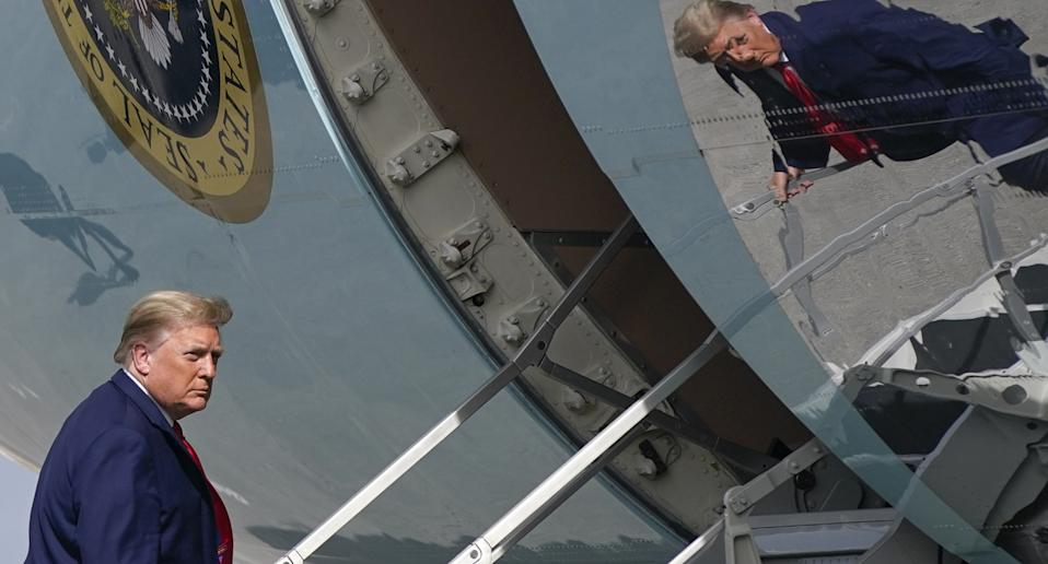 Donald Trump boarding a air force one