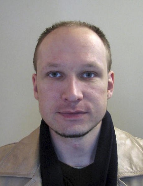 FILE - This 2009 file image issued by Norwegian police on Oct. 28, 2011, shows confessed mass killer Anders Behring Breivik in a passport photo. Breivik gunned down dozens of youths at a summer camp in Norway.Two atrocities in the space of the year, coming from opposite ends of the spectrum, are raising fears across Europe that a growing climate of ethnic and religious hostility is inspiring extremist violence, and creating the conditions for deadly clashes. (AP Photo/Norwegian Police via Scanpix Norway, File) NO SALES