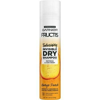<p>The <span>Garnier Fructis Texturizing Invisible Dry Shampoo in Mango Punch</span> ($5) uses a clear formula made from rice starch to absorb oil and dirt from your roots without leaving behind a white residue.</p>