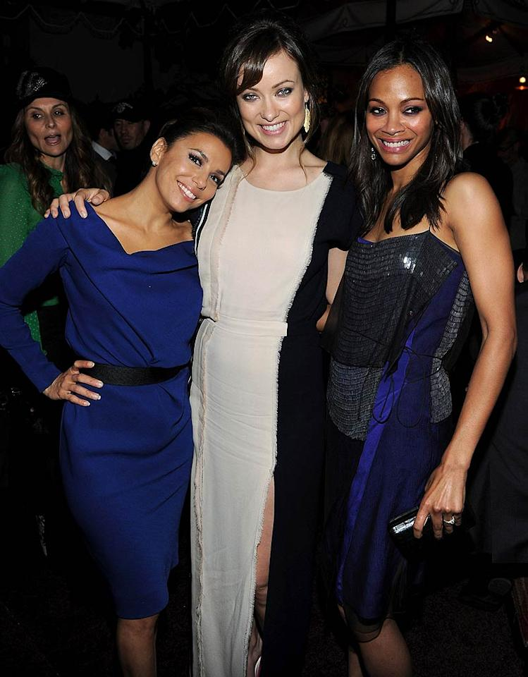 Eva Longoria, Olivia Wilde, and Zoe Saldana got a chance to show off their behind-the-camera skills at Monday's 2011 Glamour Reel Moments premiere at the Directors Guild of America in West Hollywood, California. Each actress directed one of the evening's short films -- all of which were inspired by real-life <i>Glamour</i> readers. Later the trio had some fun at the after party held at the famous Chateau Marmont hotel.