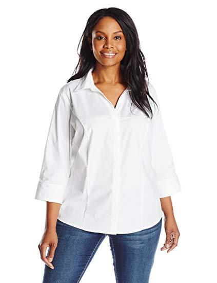 """<h2>Riders by Lee Indigo Women's Easy Care Three-Quarter Sleeve Woven Shirt</h2><br><strong>The Plus-Size White Button-Down For Larger Busts</strong><br>There's no greater fit enemy than the dreaded gap, which can be the scourge of any cup size in an ill-fitting button-down. That being said, it certainly plagues our bigger-busted sisters more regularly, so we sought out the most gap-reducing style tailored for larger chests.<br><br><strong>The Hype: </strong>4.3 out of 5 stars, 12,281 reviews on Amazon<br><br><strong>What They're Saying:</strong> """"I have owned several of these shirts. They fit great and are made for big-busted women. They have 2 buttons at the bustline so they don't gap. I just heard all of the amply endowed women of the world cheer! Yes!!! I have owned 2 white, 1 purple, and 1 peach of these blouses over the past 4 years. They are still the same great wonderful blouses!"""" - D. D., Amazon.com review<br><br><strong>Lee Jeans</strong> Riders by Lee Indigo Bella Easy Care Woven Shirt, $, available at <a href=""""https://www.amazon.com/Riders-Lee-Indigo-Womens-Sleeve/dp/B012P2L6LW/ref=sr_1_17?s=apparel&ie=UTF8&qid=1550675737&sr=1-17&nodeID=2368365011&psd=1&keywords=white+button+down&refinements=p_72%3A2661618011"""" rel=""""nofollow noopener"""" target=""""_blank"""" data-ylk=""""slk:Amazon"""" class=""""link rapid-noclick-resp"""">Amazon</a>"""