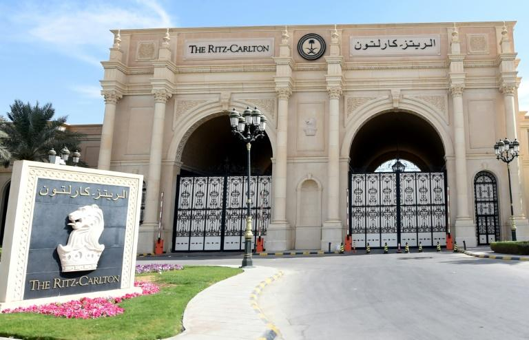 The main gate of the luxury Ritz-Carlton hotel in the Saudi capital Riyadh stands closed
