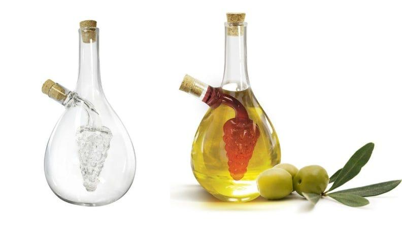 This unique glass jar holds oil and vinegar.