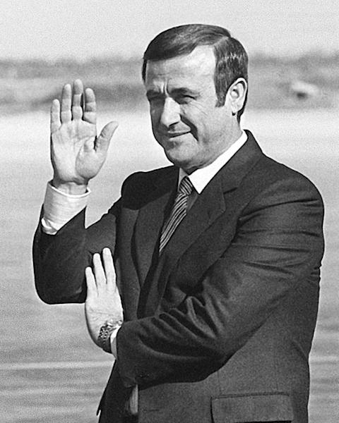 Rifaat al-Assad, seen here in November 1984, was banished from Syria after staging a failed coup against his older brother Hafez al-Assad