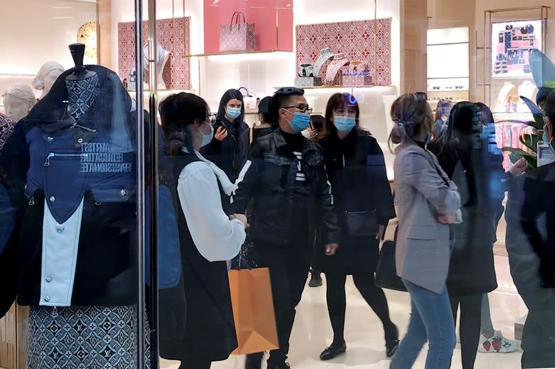 Shoppers visit Yorkdale Mall in the Toronto suburb of North York