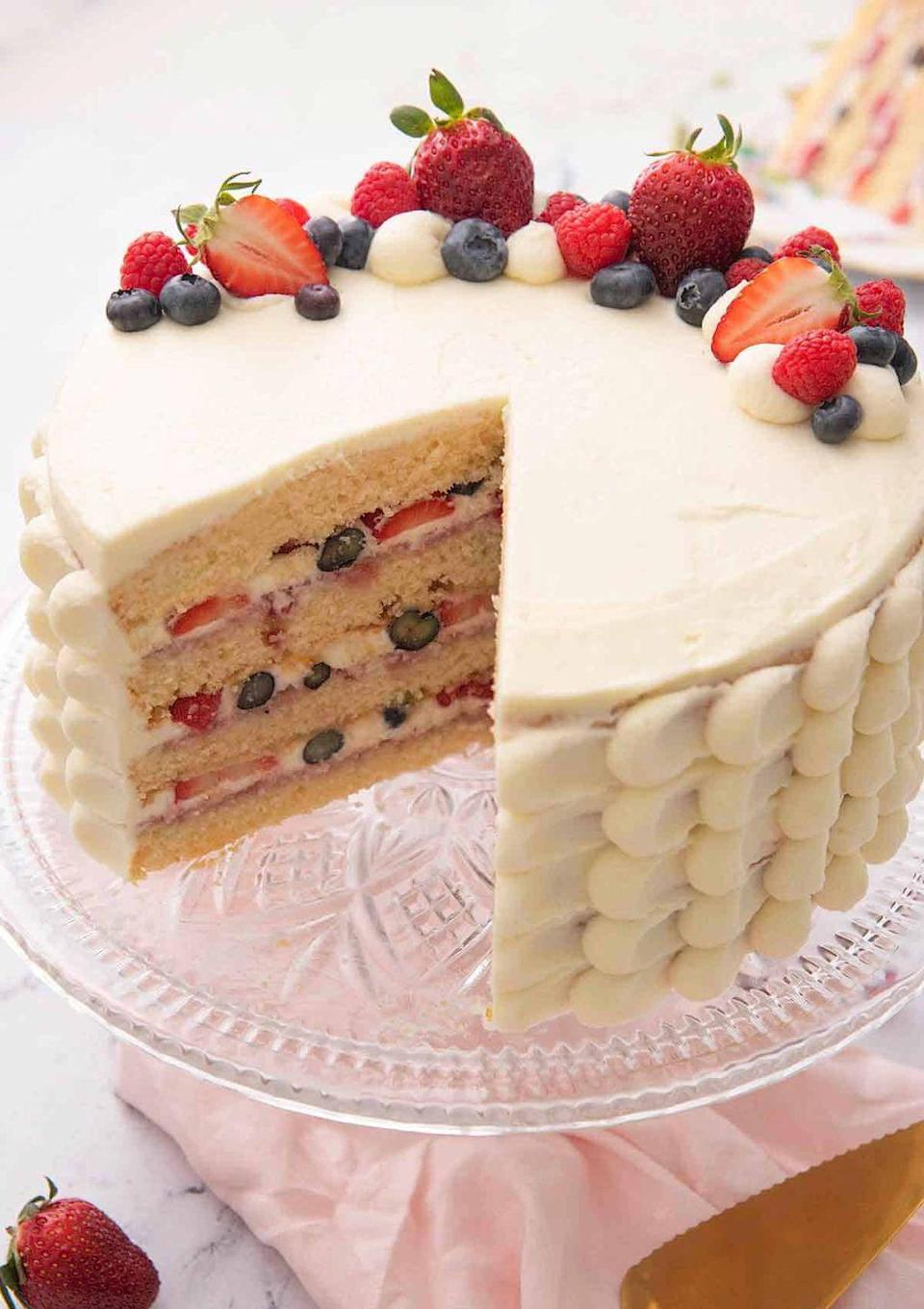 """<p>Try this layered cake to really wow your guests. It's made with fresh berries, Chantilly cream, and vanilla cake.</p><p><strong>Get the recipe at <a href=""""https://preppykitchen.com/chantilly-cake/"""" rel=""""nofollow noopener"""" target=""""_blank"""" data-ylk=""""slk:Preppy Kitchen"""" class=""""link rapid-noclick-resp"""">Preppy Kitchen</a>.</strong></p><p><strong><a class=""""link rapid-noclick-resp"""" href=""""https://go.redirectingat.com?id=74968X1596630&url=https%3A%2F%2Fwww.walmart.com%2Fsearch%2F%3Fquery%3Dcake%2Bpan&sref=https%3A%2F%2Fwww.thepioneerwoman.com%2Ffood-cooking%2Fmeals-menus%2Fg32109085%2Ffourth-of-july-desserts%2F"""" rel=""""nofollow noopener"""" target=""""_blank"""" data-ylk=""""slk:SHOP CAKE PANS"""">SHOP CAKE PANS</a><br></strong></p>"""