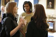 <p>Jenna and Barbara Bush with Michelle Obama in the White House on the morning of Barack Obama's inauguration.</p>