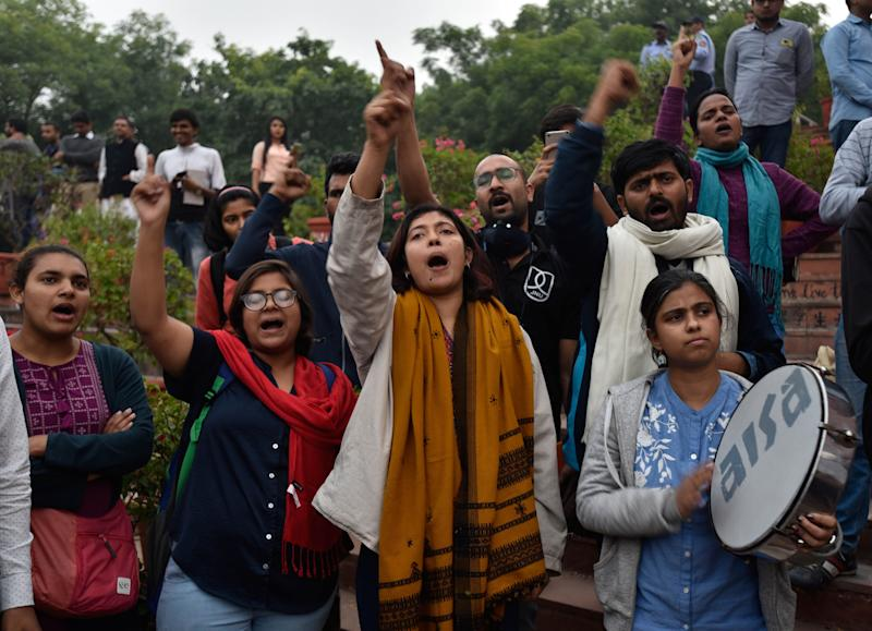 JNU students protest against the administration's move to hike the hostel fee on November 15, 2019 in New Delhi. (Photo: Hindustan Times via Getty Images)